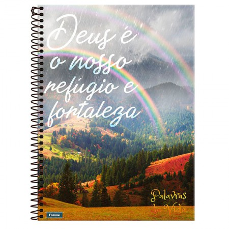 Caderno espiral capa dura 1/4 - 80 folhas - Palavras da Vida - Capa 4 - Foroni
