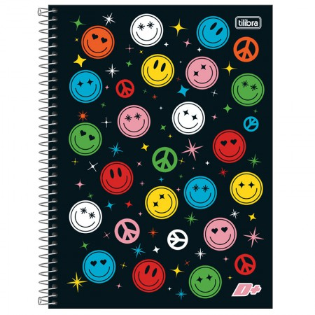 Caderno espiral capa dura universitário 1x1 - 96 folhas - D Mais - Hello Monday - Tilibra