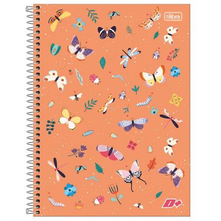Caderno espiral capa dura universitário 1x1 - 96 folhas - D Mais - Borboleta - Tilibra