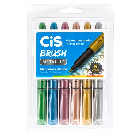 Caneta pincel Brush Metálico - com 6 cores - Cis