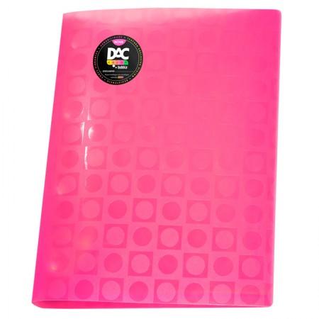 Pasta catálogo A4 - 908PP/RS - rosa - com 10 envelopes plásticos - Dac