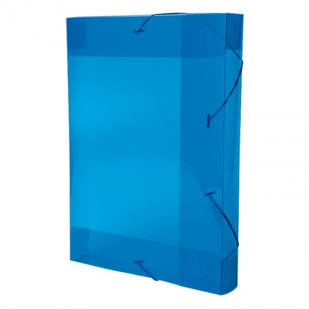 Pasta com aba elástico ofício lombo 55mm - Line - transparente azul - 0258.C - Dello