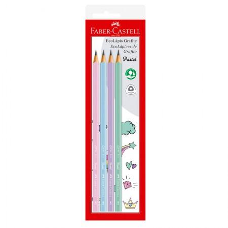 Lápis preto max tons pastel - SM/1205PASTEL - com 4 unidades - Faber-Castell