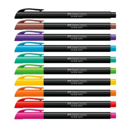 Caneta hidrográfica supersoft brush - 150710SOFT - com 10 cores - Faber-Castell