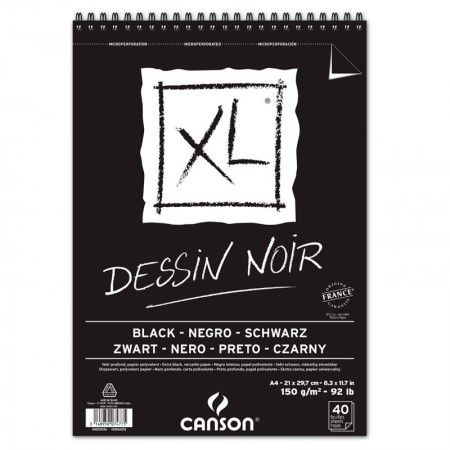 Bloco XL dessin noir black A4 150g - com 40 folhas - Canson