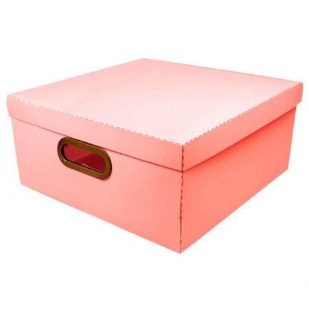 Caixa organizadora grande linho - coral - 2206.CL - Dello