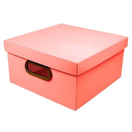 Caixa organizadora média linho - coral - 2205.CL - Dello