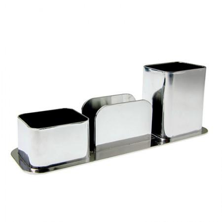 Porta lembrete/lápis/clips - metalizado prata - 3031.0 - Dello