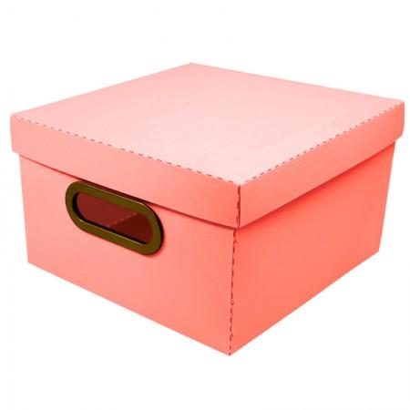 Caixa organizadora pequena linho - coral - 2204.CL - Dello