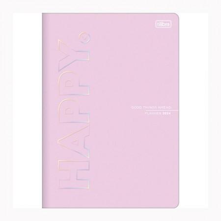 Agenda planner grampeado mensal Happy 2021 Rosa pastel - Tilibra