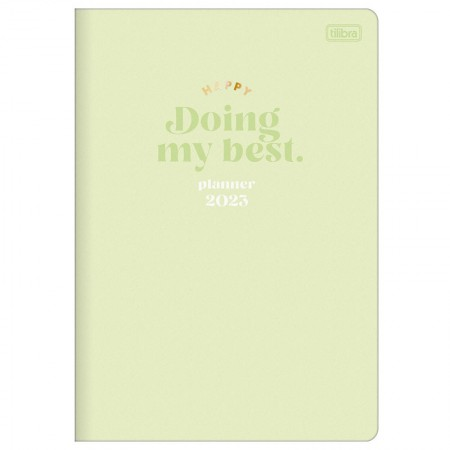 Agenda planner grampeado mensal Happy 2021 Azul pastel - Tilibra