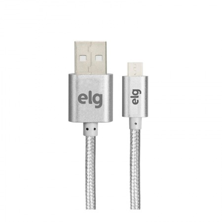 Cabo de sincronização/recarga micro USB tecido trançado nylon 1M - M510BS - Prata - Elg