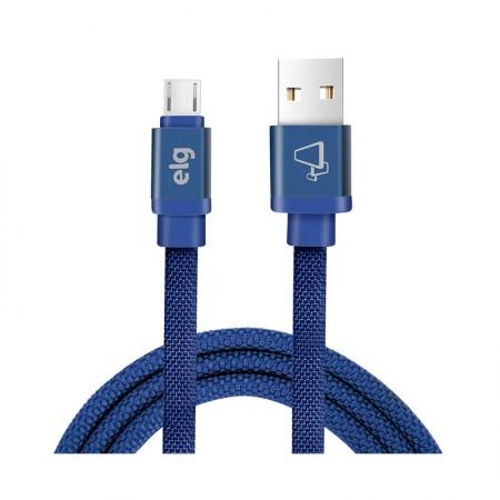 Cabo micro USB tecido canvas recarga/sincronização de smartphones 1M - CNV510BE - Azul - Elg