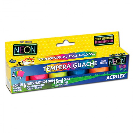 Tinta guache 6 cores neon 15ml - 01006 - Acrilex