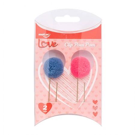 Clips Pom Pom Love - com 2 unidades - 23070 - Molin