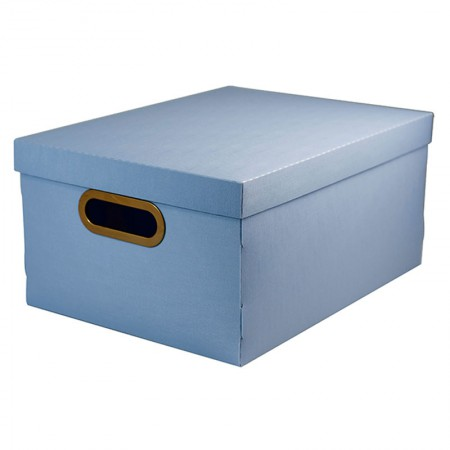Caixa organizadora média linho - azul claro - 2192.B - Dello