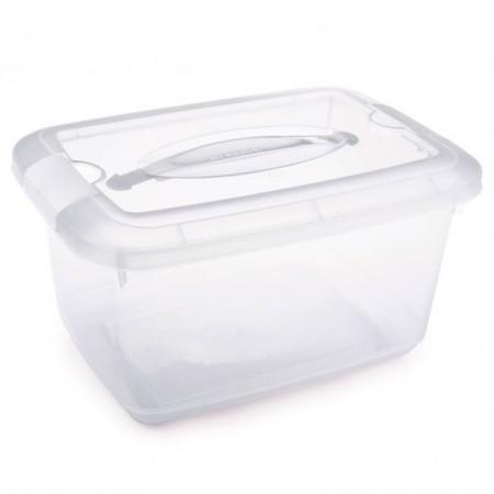 Caixa organizadora Gran Box Vision com alça - cristal - 5,2 litros - 2325 - Plasutil