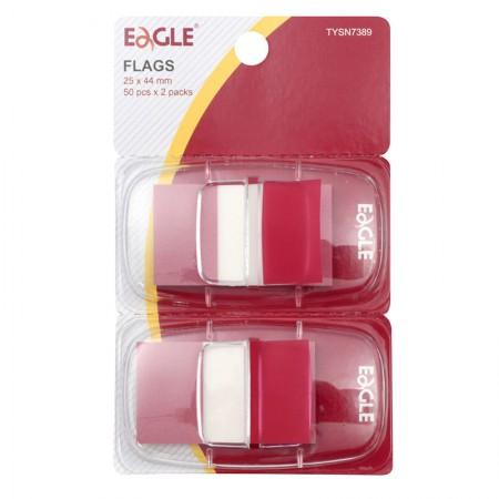 Marcador de páginas com 2 peças de 50 folhas - vermelho - Eagle