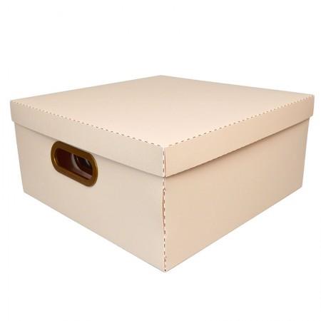 Caixa organizadora grande linho quadrada - rosa pastel - 2206.W - Dello