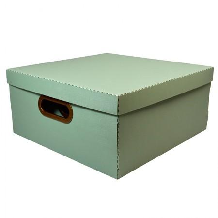 Caixa organizadora grande linho quadrada - verde - 2206.V1 - Dello