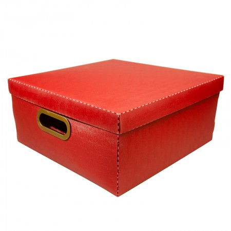 Caixa organizadora grande linho quadrada - vermelha - 2206.U - Dello