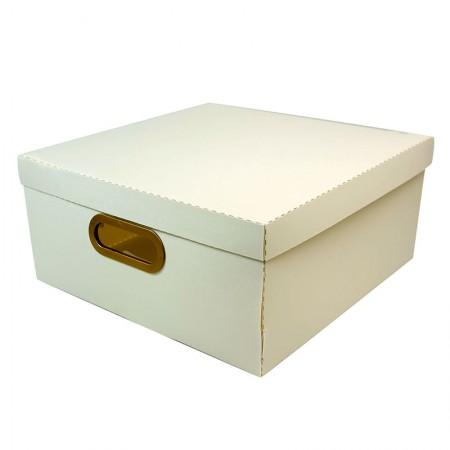Caixa organizadora grande linho quadrada - cinza pastel - 2206.G - Dello