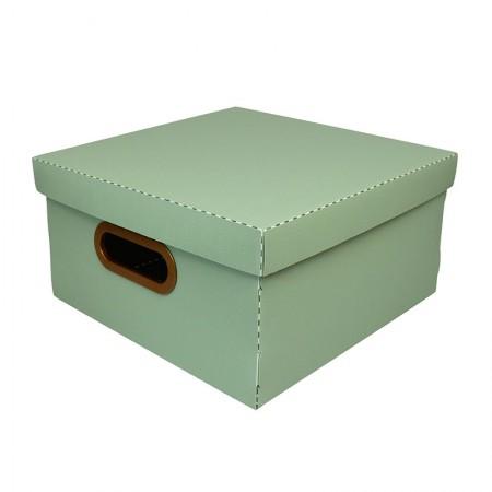Caixa organizadora média linho quadrada - verde - 2205.V1 - Dello