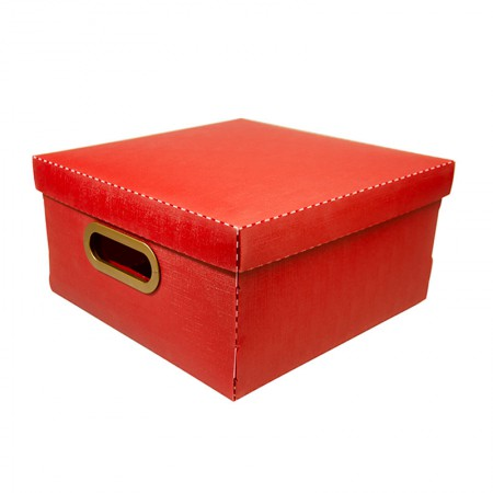 Caixa organizadora média linho quadrada - vermelha - 2205.U - Dello