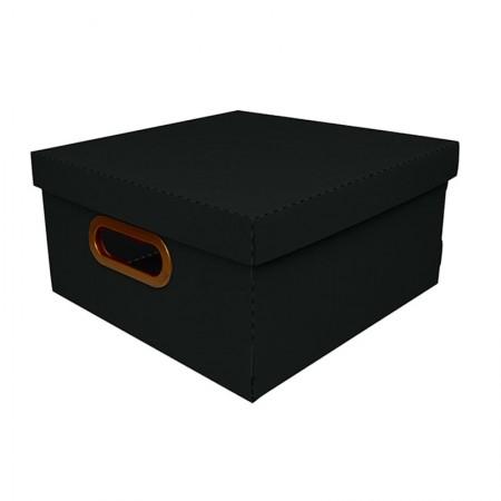 Caixa organizadora média linho quadrada - preta - 2205.P - Dello