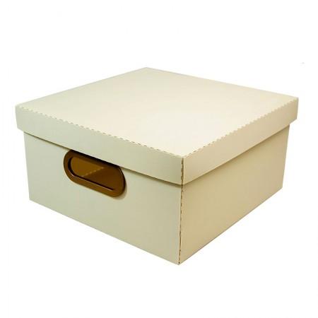 Caixa organizadora média linho quadrada - cinza pastel - 2205.G - Dello