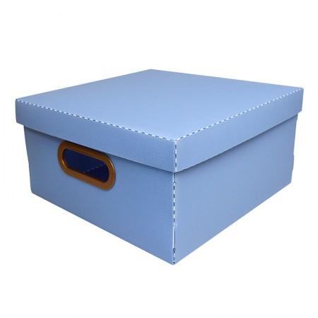 Caixa organizadora média linho quadrada - azul pastel - 2205.B - Dello