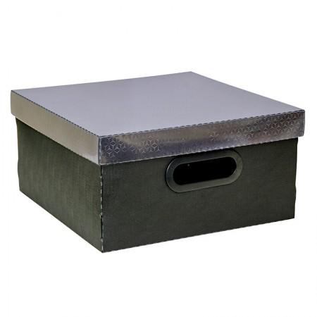 Caixa organizadora média quadrada - preto onix - 2198.P - Dello