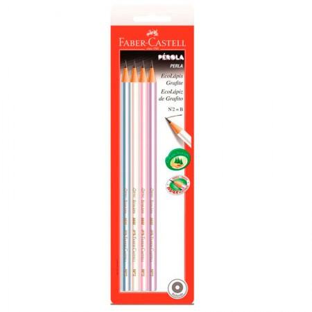 Lápis preto Pérola  nr 2 - SM/1210PER - com 4 unidades - Faber-Castell