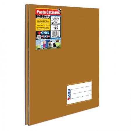 Pasta catálogo ofício 5341 - ouro - com 10 plásticos - Chies