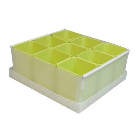 Caixa organizadora de objetos com 9 divisões - verde pistache - 2194.V - Dello