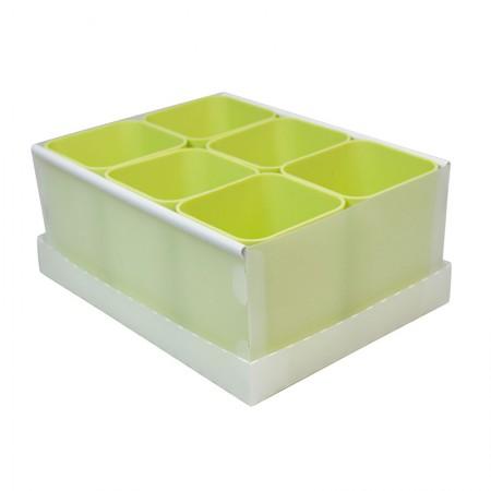 Caixa organizadora de objetos com 6 divisões - verde pistache - 2193.V - Dello