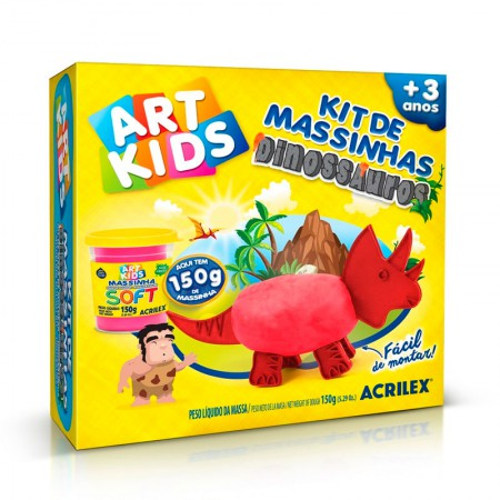 Massinha Kit Dinossauros Vermelhos - Art kids - 40052 - Acrilex