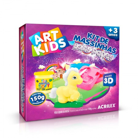 Massinha Kit Baby Poney Amarelo -  Art Kids - 40045 - Acrilex