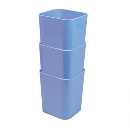 Kit com 3 porta objetos - azul pastel - 6413.B - Dello