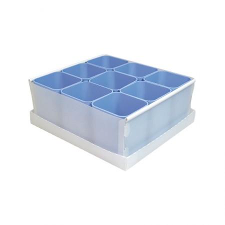Caixa organizadora de objetos com 9 divisões - azul pastel - 2194.B - Dello