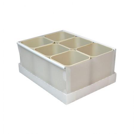 Caixa organizadora de objetos com 6 divisões - cinza claro - 2193.G - Dello