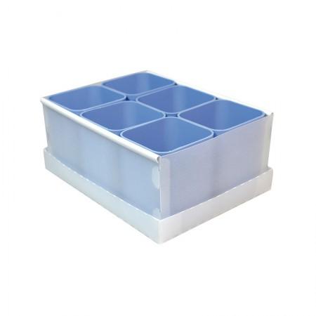 Caixa organizadora de objetos com 6 divisões - azul pastel - 2193.B - Dello