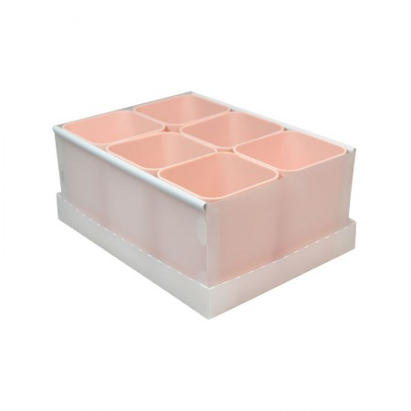 Caixa organizadora de objetos com 6 divisões - rosa pastel - 2193.W - Dello