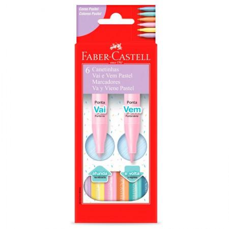 Caneta hidrográfica vai e vem com 6 cores pastel - 15.0906VVZF - Faber-Castell