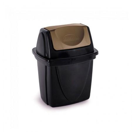 Cesto de lixo plástico Preto basculante - 3484 - 6,5  Litros - Plasútil