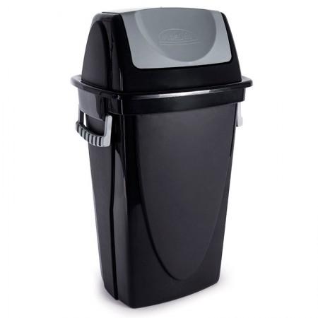 Cesto de lixo plástico Preto basculante - 3487 - 28 Litros - Plasútil
