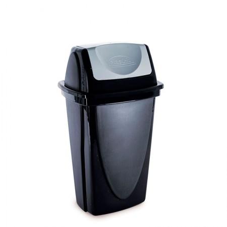 Cesto de lixo plástico Preto basculante - 3485 - 9 Litros - Plasútil