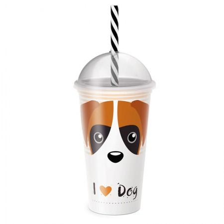 Copo shake com canudo I love dog 500 ml - 6821 - Plasútil