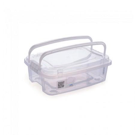 Caixa organizadora Gran Box baixa com alça e trava - cristal - 8412 - 3,12 litros - Plasútil