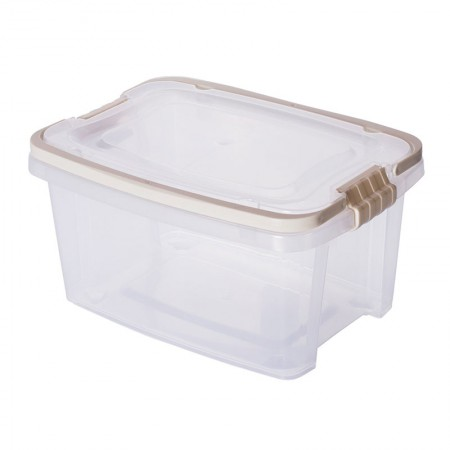 Caixa organizadora Gran Box alta com alça e trava - Bege - 8338 - 2,6 Litros - Plasútil